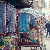 picture of rickshaw  - colorful nepalese rickshaw in the streets of kathmandu  - JPG