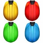 picture of collier  - Set of colorful Top view of Classic miners helmets with lamp - JPG