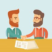 Постер, плакат: Two successful hipster Caucasian businessmen with beard handshaking Hipster businessmen on a meetin