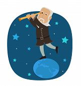 stock photo of physicist  - Galileo is standing on earth looking in his telescope at the stars - JPG