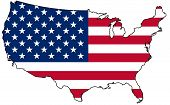 picture of united states map  - Map of United States of America isolated - JPG