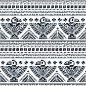 foto of wigwams  - Tribal vector seamless pattern with native American Indian symbols - JPG