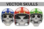 stock photo of football helmet  - Set of Human skulls with football helmet - JPG