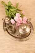 pic of pompous  - antik table set with pink tulips for tea - JPG