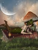 stock photo of fairy-mushroom  - fairy in a fantasy landscape with mushroom - JPG