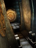 image of steampunk  - steampunk room with clock and metal walls - JPG