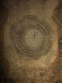 pic of steampunk  - steampunk wall with clock and metal wall - JPG