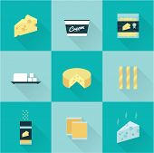 foto of shredded cheese  - vector flat style all kind of cheese icon set - JPG