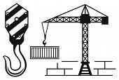 image of crane hook  - Crane working and hook of a crane - JPG