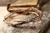foto of crown-of-thorns  - Crown of thorns with blood and bible - JPG
