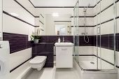stock photo of shower-cubicle  - Modern bathroom with shower cubicle in white and violet color - JPG