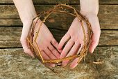 stock photo of crown-of-thorns  - Crown of thorns in hands - JPG