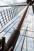 pic of mast  - Mast and rigging on a sailing wooden ship - JPG