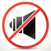 picture of noise pollution  - Eps 10 Vector Illustration of Speaker with Prohibition Sign - JPG