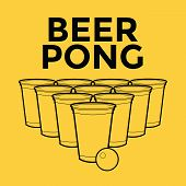 pic of hangover  - Beer Pong Drinking Game with background vector illustration - JPG