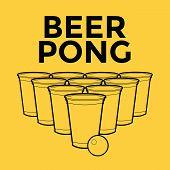 stock photo of mug shot  - Beer Pong Drinking Game with background vector illustration - JPG