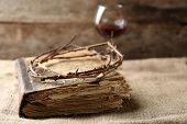 picture of crown-of-thorns  - Crown of thorns and bible on old wooden background - JPG