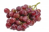 picture of grape  - Bunch of red globe grapes against white background - JPG