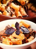 stock photo of veal  - Macaroni with veal casserole shot from above - JPG