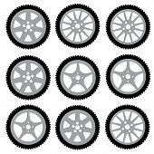 stock photo of alloy  - automotive wheel with alloy wheels - JPG