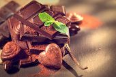 stock photo of gift basket  - Chocolates background - JPG