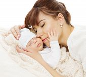 foto of family bonding  - Mother Newborn Baby Family Portrait Mom with New Born Kid Parent and Child Love Concept - JPG
