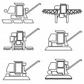 picture of combine  - Collection flat icons with long shadow - JPG