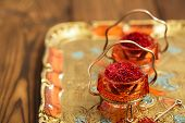 image of saffron  - saffron spice in antique vintage glass bowl - JPG