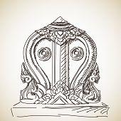 stock photo of karma  - Sketch of symbol of Buddhism - JPG