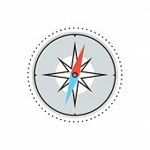 image of compass rose  - Thin line icon with flat design element of navigational compass cartography route wind rose discovery travel research journey points north - JPG