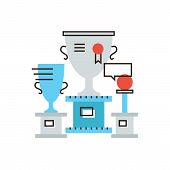 image of prize winner  - Thin line icon with flat design element of world cup sports awards champion of competition collection rewards goblet winner gold cup - JPG