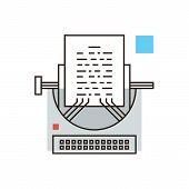 picture of blog icon  - Thin line icon with flat design element of journalistic publishing writing story media journalism black PR print blog retro vintage typewriter - JPG