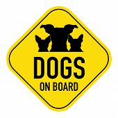 stock photo of placard  - dogs group row silhouette illustration on yellow placard signshowing the words dogs on board isolated on white background - JPG