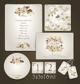 stock photo of letterhead  - Invitation card letterhead numbering for tables and different elements. Watercolor flowers on  light cream background. Vintage design. - JPG