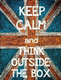 picture of jack-in-the-box  - Keep Calm and Think Outside The Box. United Kingdom (British Union jack) flag vintage hand drawing with chalk on blackboard humor concept image - JPG