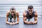 Portrait of a muscular couple doing planking exercises poster