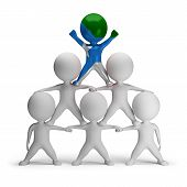 stock photo of human pyramid  - 3d small people standing on each other in the form of a pyramid with the top leader Jubaland - JPG