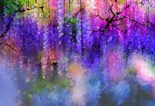 Spring Purple Flowers Wisteria.watercolor Painting poster