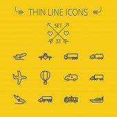 stock photo of trucks  - Transportation thin line icon set for web and mobile - JPG