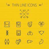 Постер, плакат: Medicine thin line icon set for web and mobile Set includes human internal organs hospital DNA i
