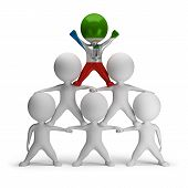 pic of human pyramid  - 3d small people standing on each other in the form of a pyramid with the top leader Equatorial Guinea - JPG