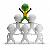 pic of human pyramid  - 3d small people standing on each other in the form of a pyramid with the top leader Jamaica - JPG