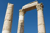 pic of amman  - Exterior detail of the ancient stone columns at the Citadel of Amman in Amman - JPG