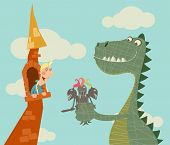 picture of woman dragon  - Dragon gives the princess a bouquet of Knights vector illustration - JPG