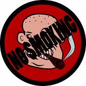 picture of taboo  - Bald man with cigar no smoking vector sign - JPG