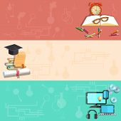 stock photo of online education  - Education online learning school subjects student college university exams diploma pencils laptop vector banners - JPG