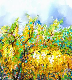 stock photo of yellow  - Abstract flowers watercolor mix oil color painting - JPG