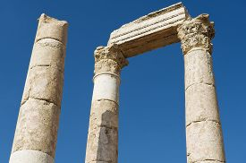 image of amman  - Exterior detail of the ancient stone columns at the Citadel of Amman in Amman - JPG