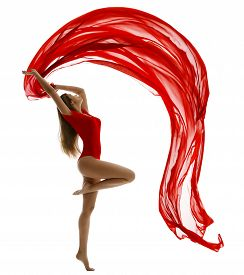 picture of leotard  - Dancing Woman in Leotard Flying Red Cloth on White Gymnast Girl Dance with Wave Fabric Ribbon