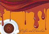 Sweet liquid Chocolate swirl on abstract backdrop. Elegant design background with hot coffee cup; cl